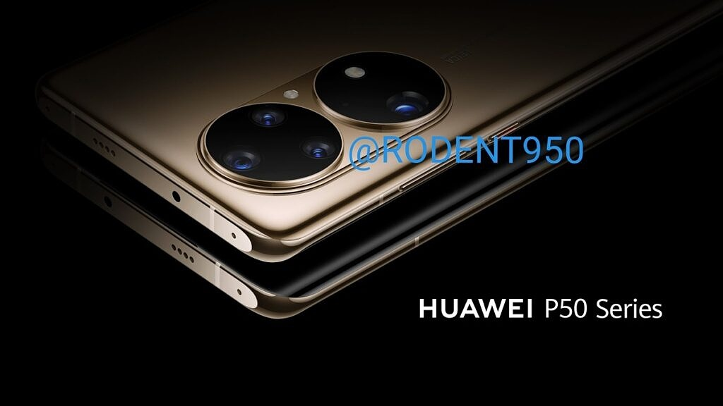 Leaked render of the Huawei P50 showcasing its unusual camera module design