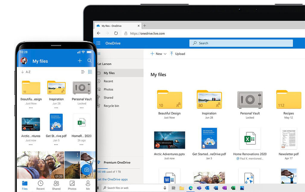Image showing Microsoft OneDrive running on smartphone and laptop