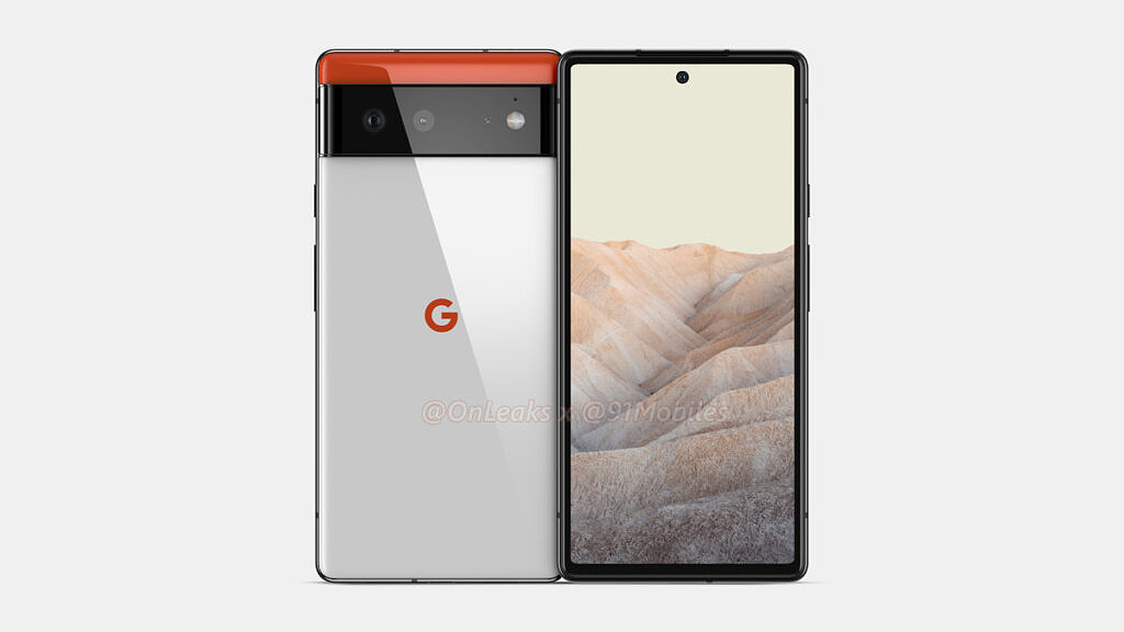 Leaked Pixel 6 render showcasing front and back of the phone