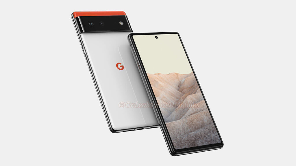Leaked Pixel 6 render showing the front and back of the phone diagonally