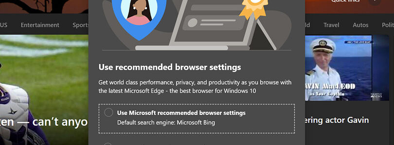 Microsoft Edge now asks you to switch your default search back to Bing