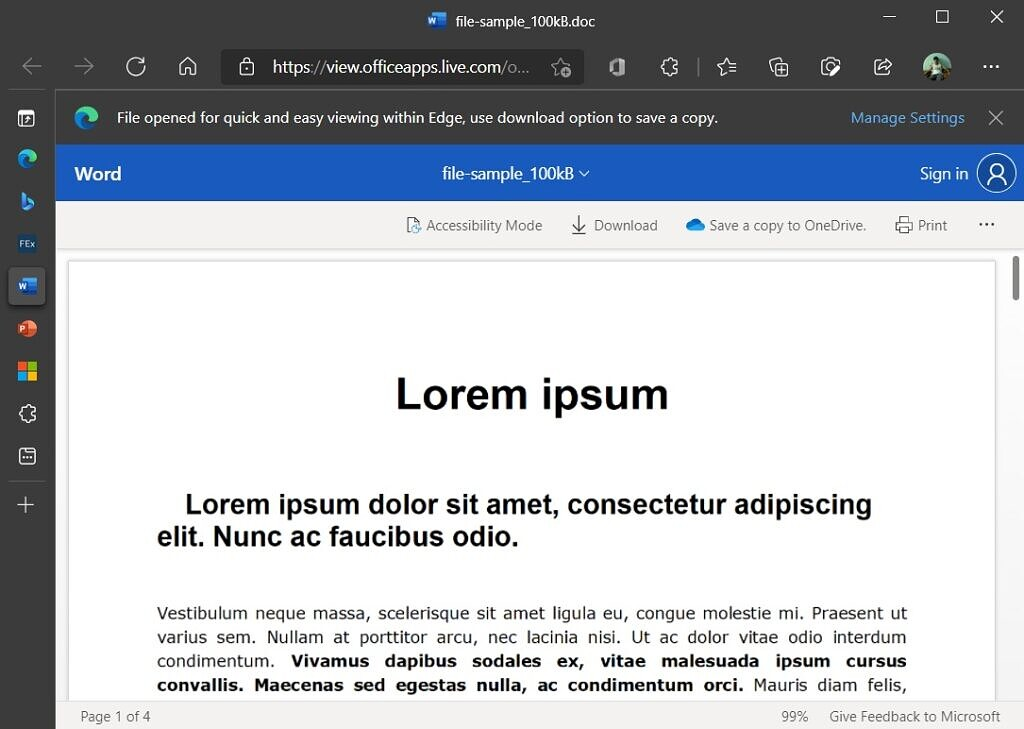 Microsoft Word file open in Office Viewer on Microsoft Edge