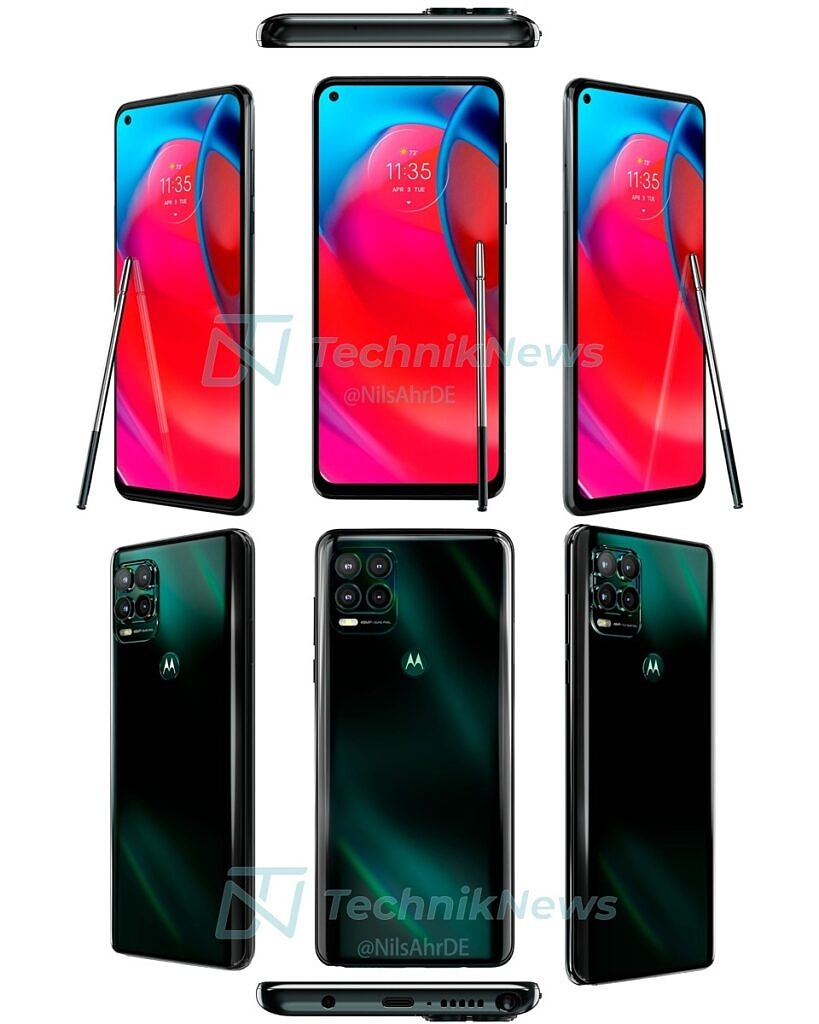 Moto G Stylus 5G leaked renders showing front, back, bottom and top