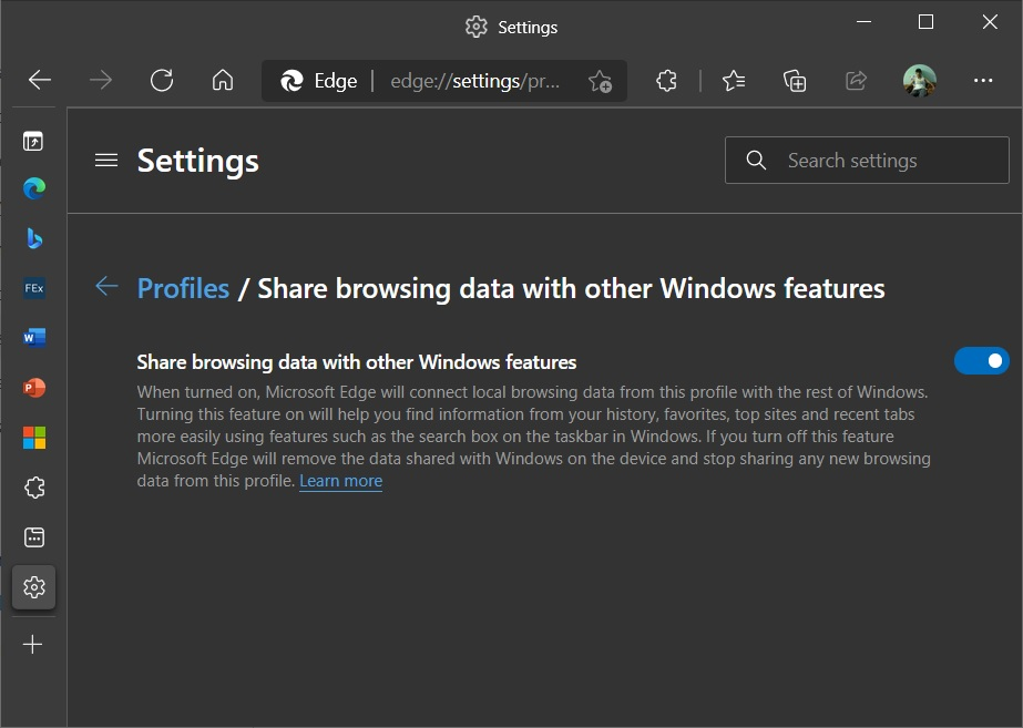 New setting to enable Windows Search integration in Microsoft Edge
