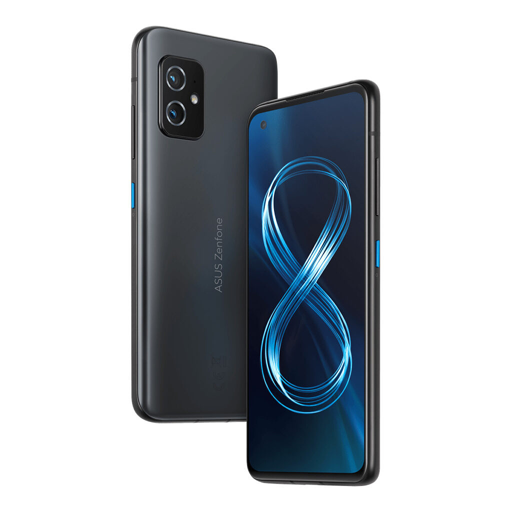 Obsidian Black ZenFone 8 with blue accent on power button and 8 on display