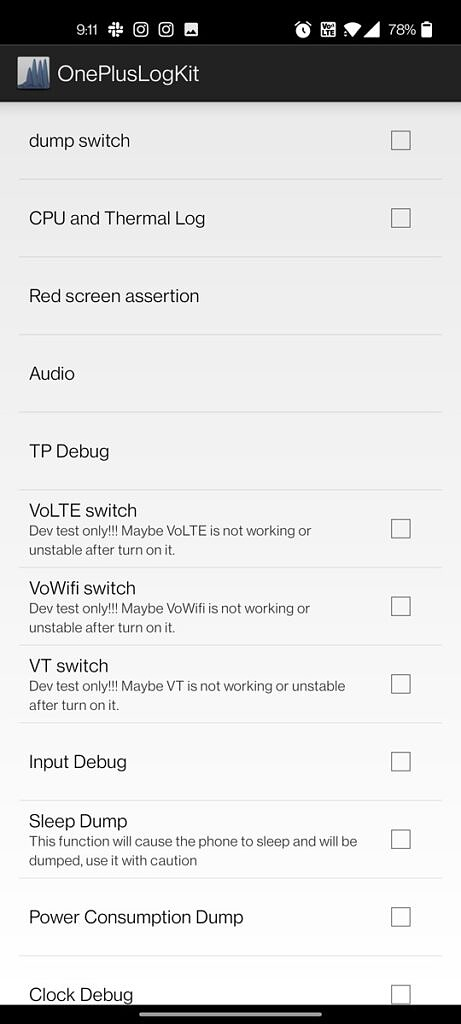 OnePlusLogKit with VoLTE, VoWifi, and VT unchecked
