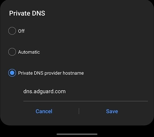 Settings page to change the DNS Provider for blocking ads