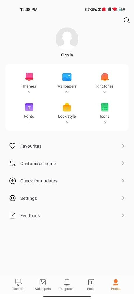 Profile section in MIUI Themes app