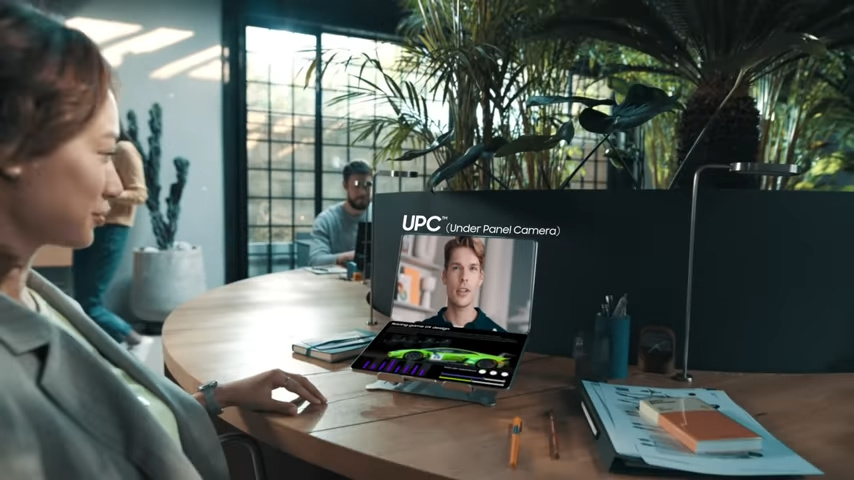 Samsung Display Under Panel Camera Laptop being used for video conferencing