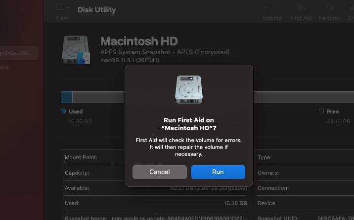 first aid dialog box on Disk Utility on Mac