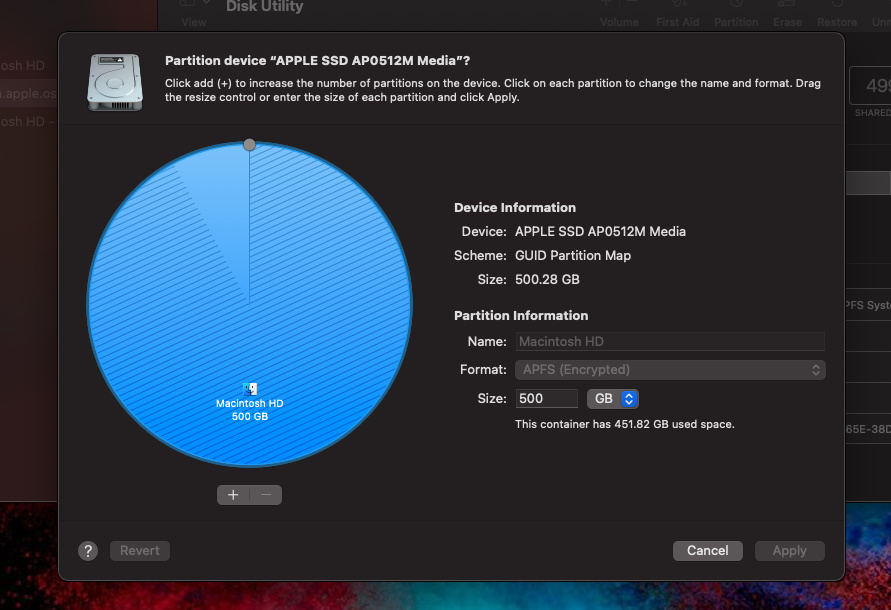 partition menu in Disk Utility on Mac