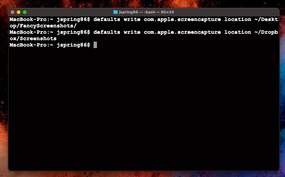 Changing the default save folder for screenshots using Terminal