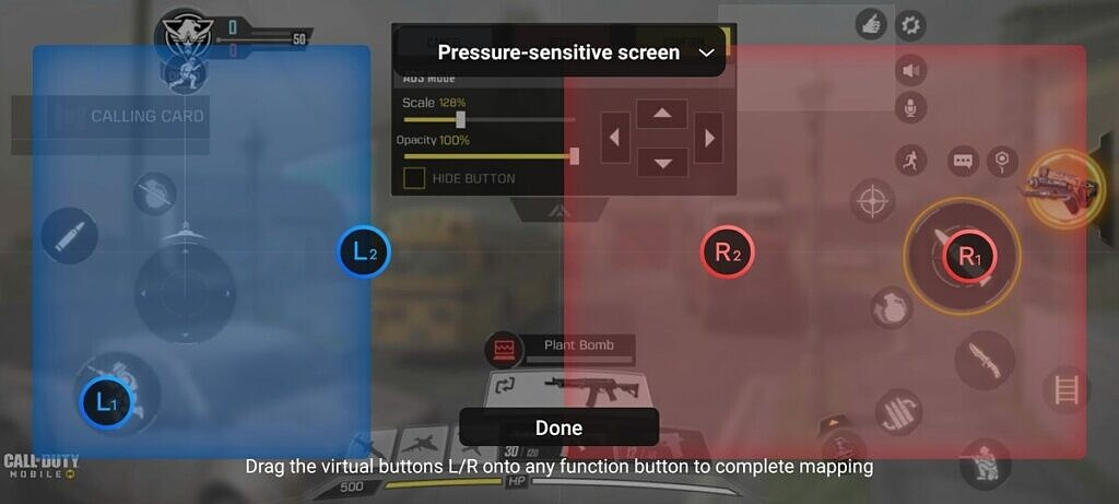 iQOO 7 Legend's L1 and L2 double trigger buttons in CoD Mobile