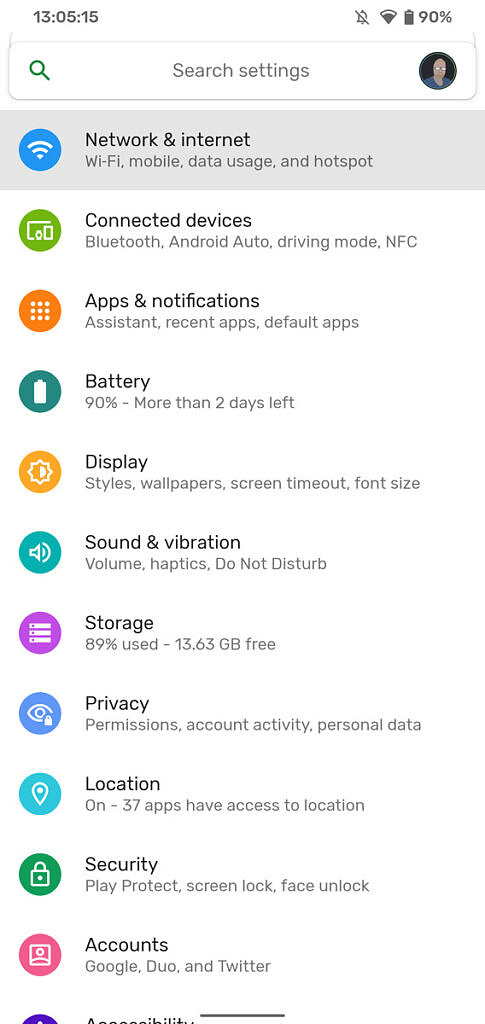 Android settings screen with wifi and internet selected