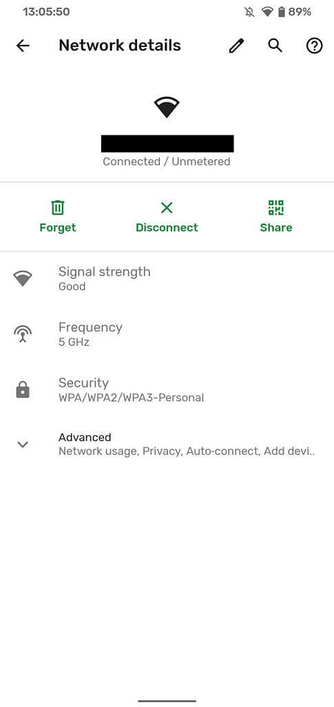 Android network details screen