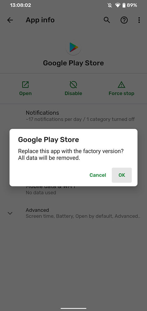 Uninstall and reinstall Play Store and Play Service updates confirm screen