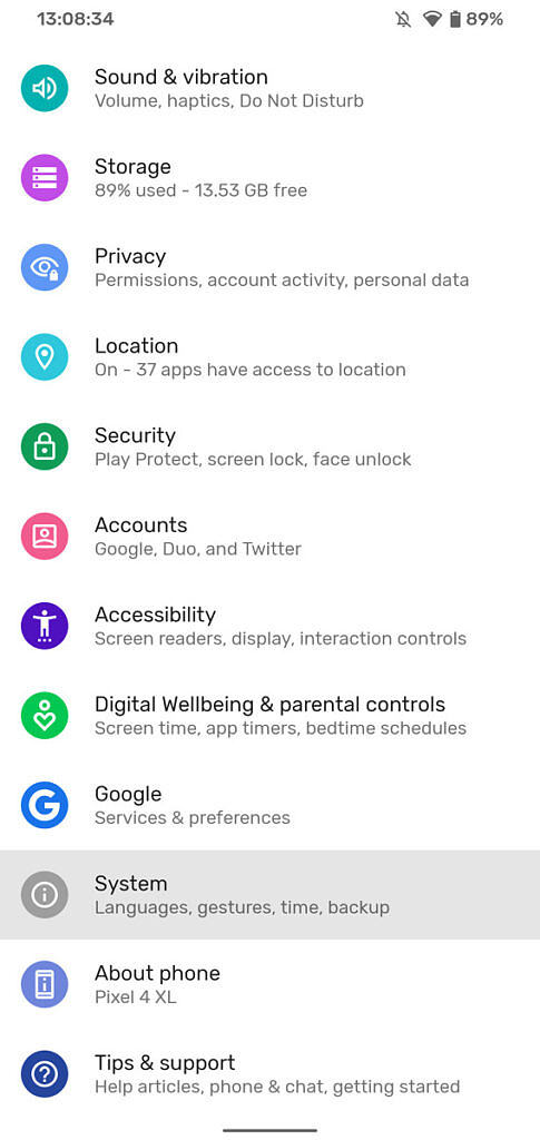Android settings screen with system selected