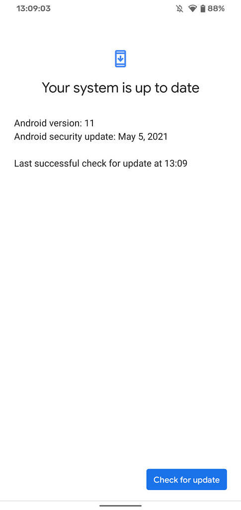 Android system is up to date screen