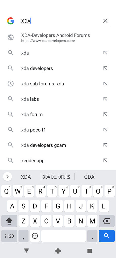 Using Gboard in Google Search app to search for the term XDA