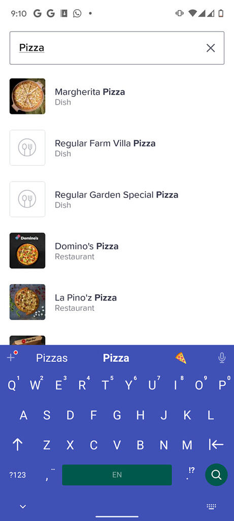 """Typing """"Pizza"""" in a food delivery app with Chrooma keyboard"""