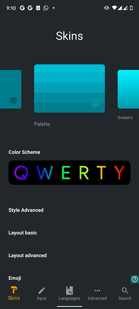 Various color skins and themes of Chrooma keyboard
