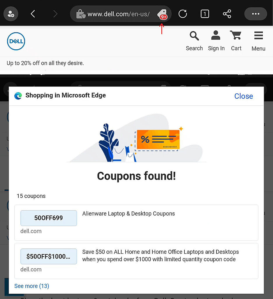 Shopping in Microsoft Edge pop-up showing coupons for Dell.com