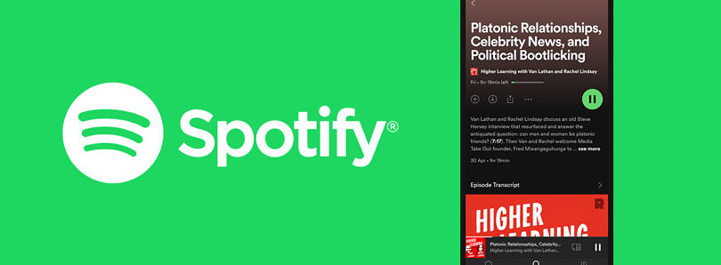 Spotify's iPhone and Android app get automatic podcast transcriptions and more