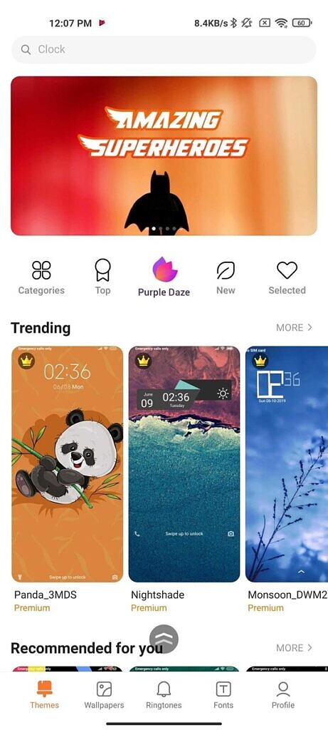 MIUI Themes app home page
