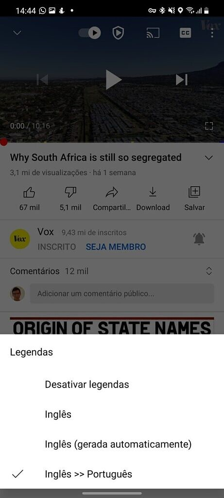 English to Portuguese translation option in YouTube app for mobile