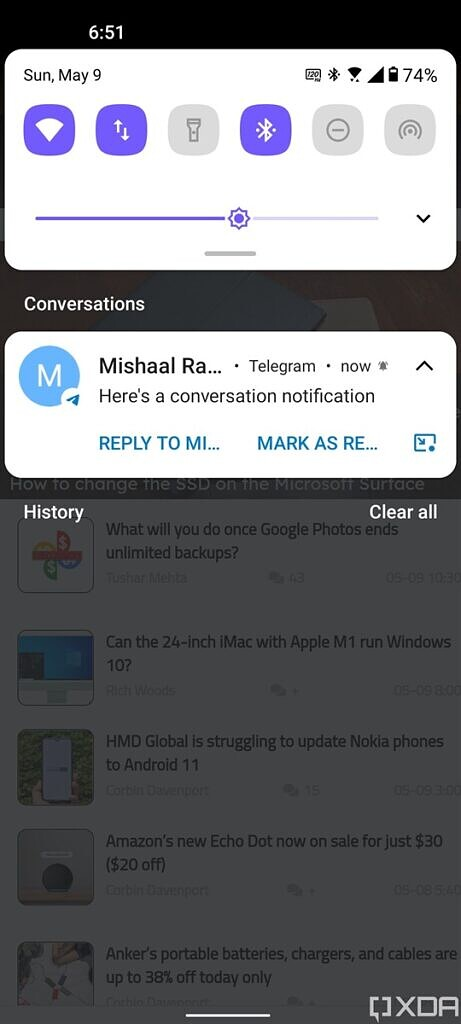 Conversation section in ZenUI 8 based on Android 11