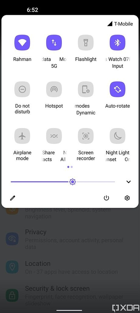 Classic quick settings layout available in ZenUI 8