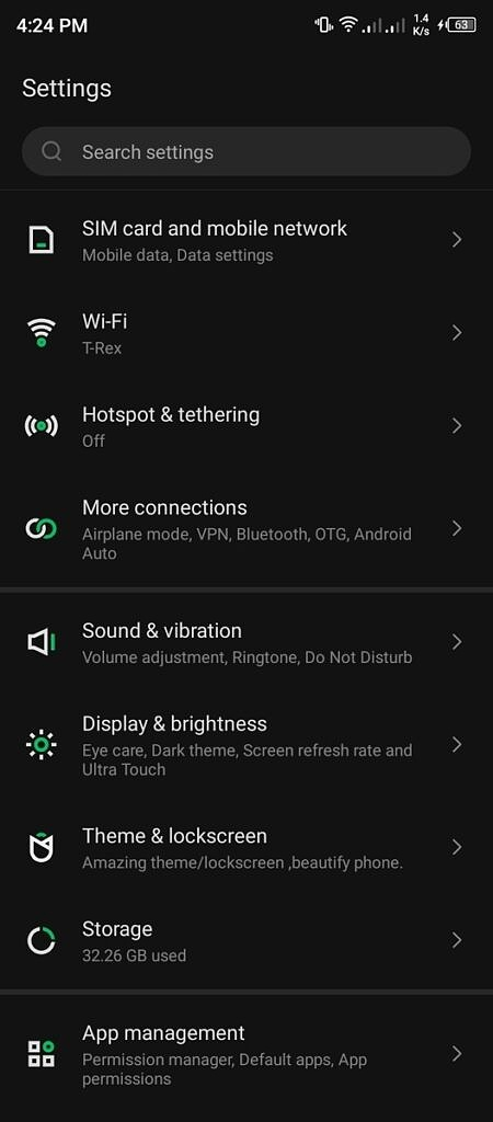 Android settings
