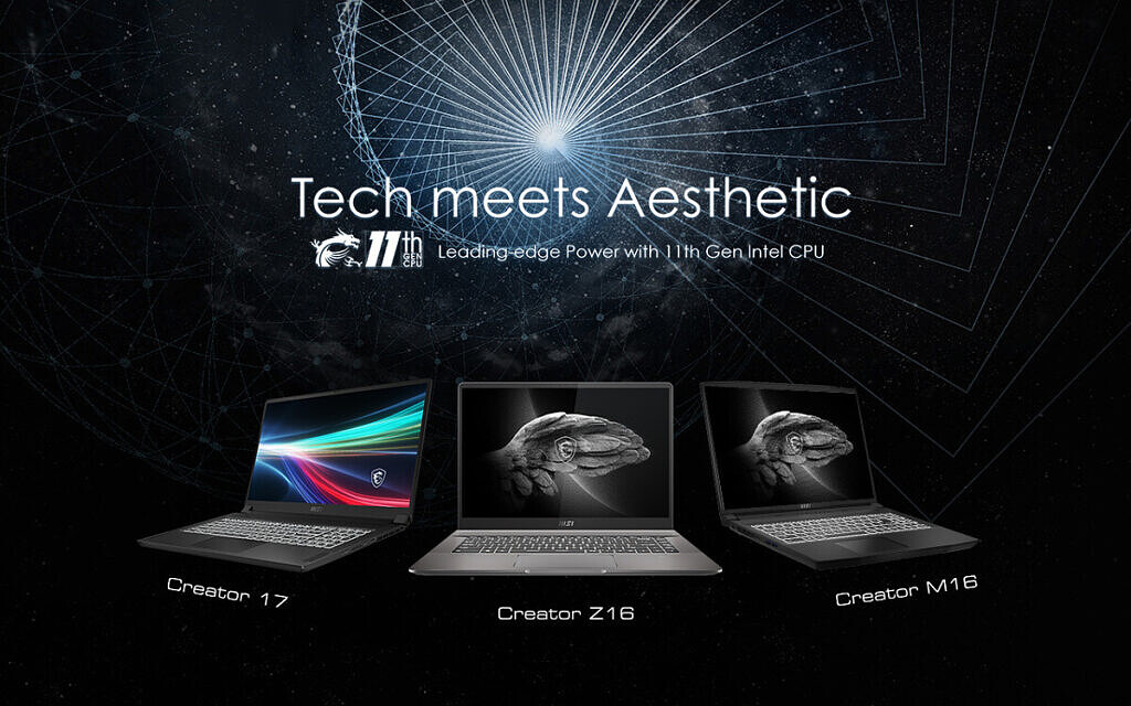 Tech meets Aesthetic text over MSI Creator laptops