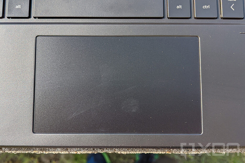 Top-down view of HP Elite Folio touchpad