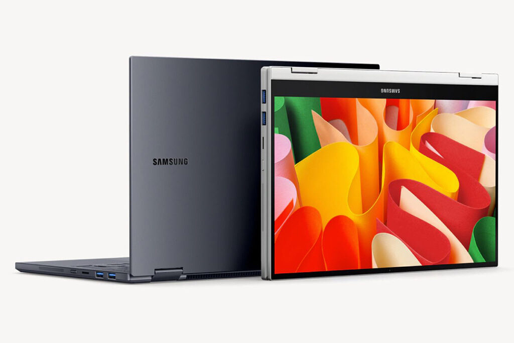Galaxy Book Flex2 ⍺ in open and convertible positions