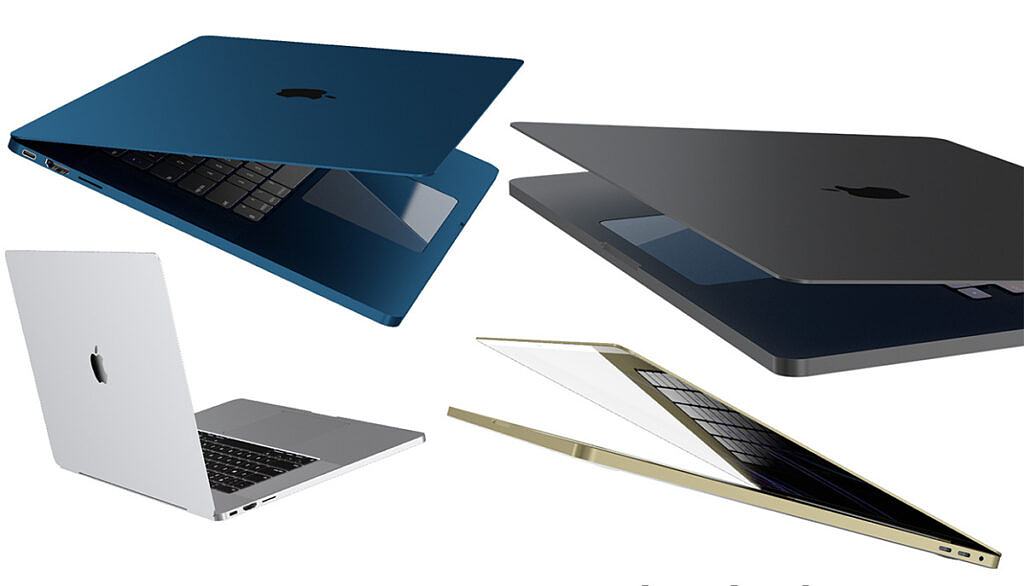 macbook pro 2021 concept render leak in blue, silver, gray, and golden colors