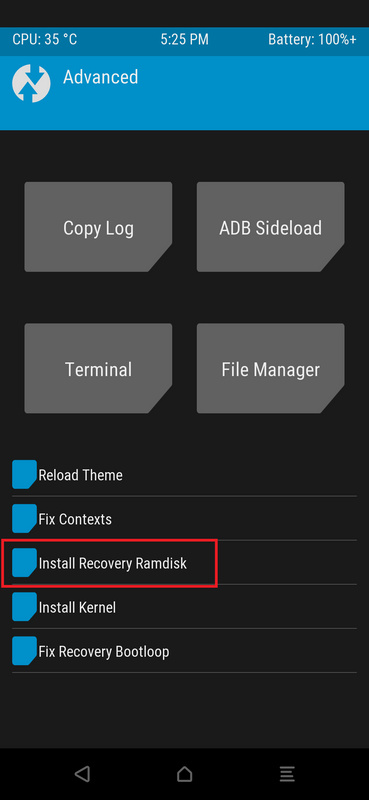 Install recovery ramdisk option under TWRP