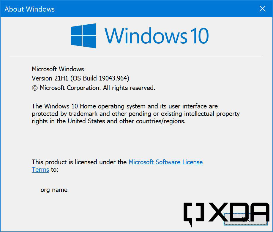 Winver screen showing Windows 10 version and build number