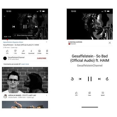 """YouTube begins testing """"listening controls"""" UI for music in main app"""