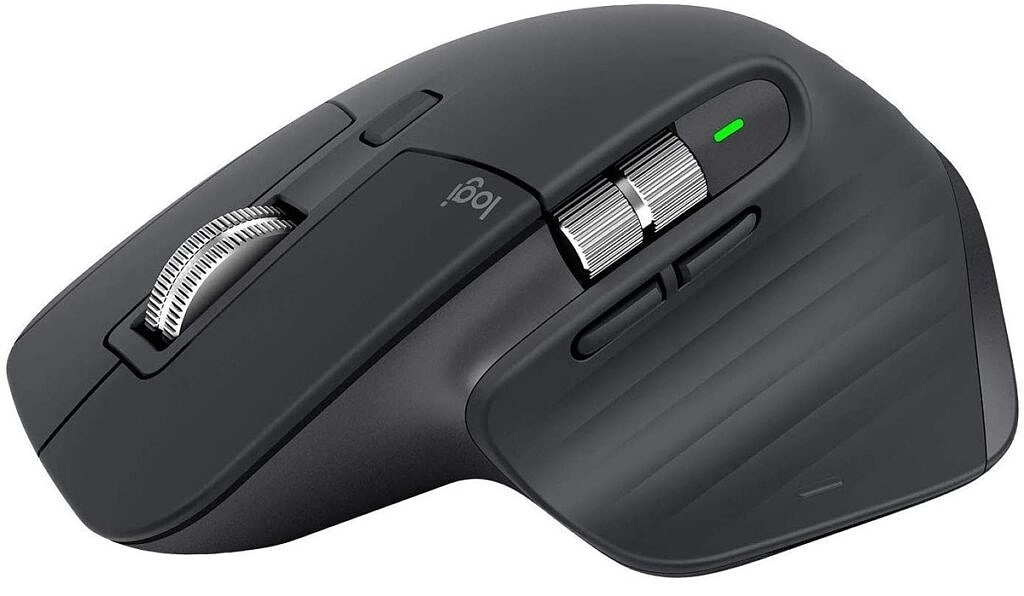 This image shows the Logitech MX Master 3 in black, from the side