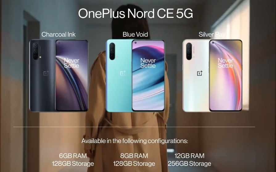 All colorways of the OnePlus Nord CE 5G with RAM and storage configurations