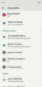 Accessibility settings in Beta 2