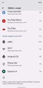 System battery usage info in Android 12 Beta 2