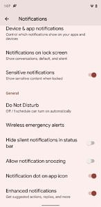 Enhanced notification toggle in Android 12