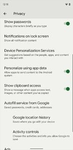 Show clipboard access setting in Android 12