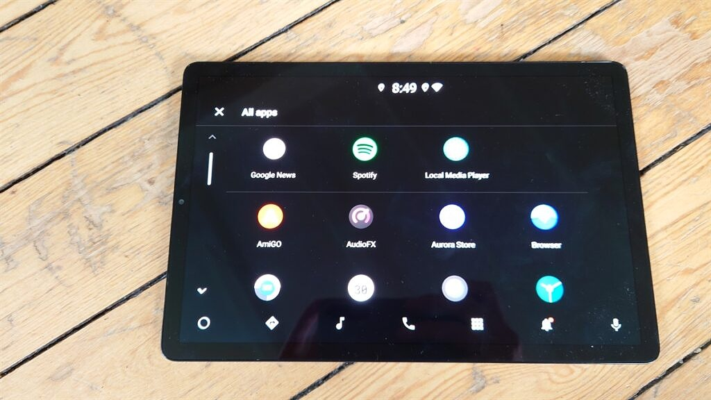 Android Automotive running on a Samsung Galaxy Tab S5e