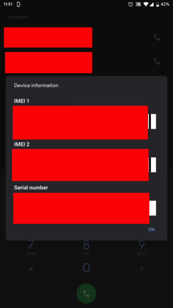 Android hidden codes IMEI