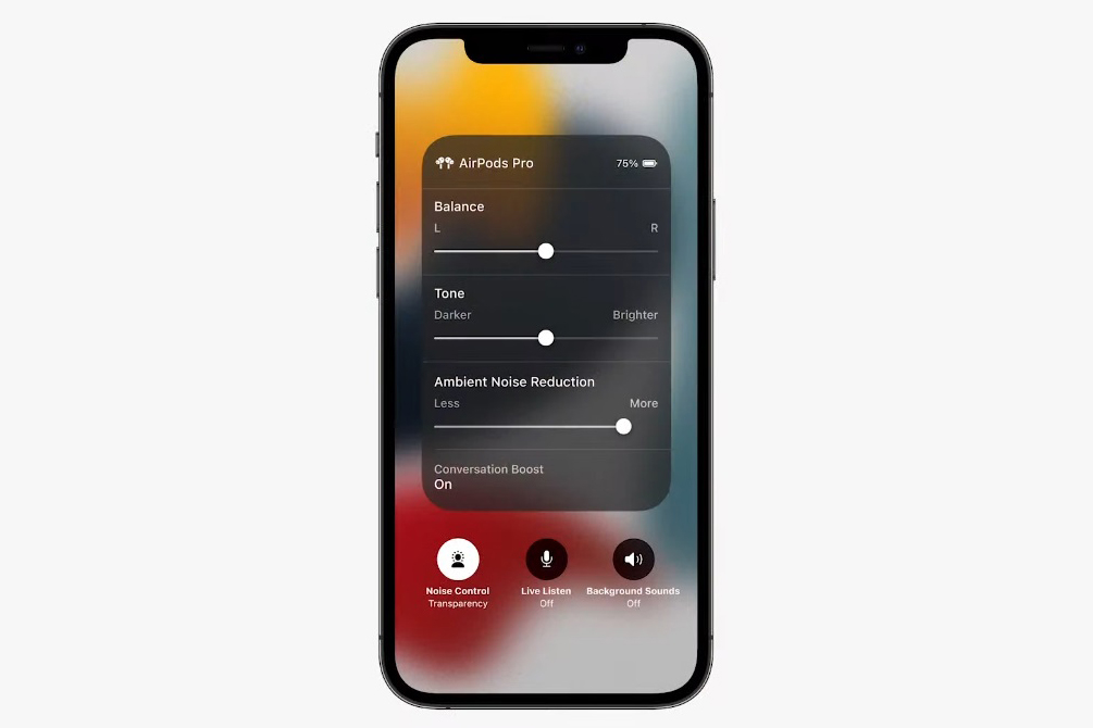Apple AirPods conversation boost feature shown on iPhone