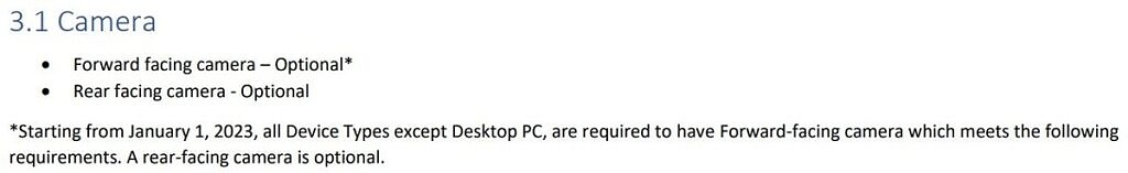 Windows 11 hardware requirements saying a webcam is necessary