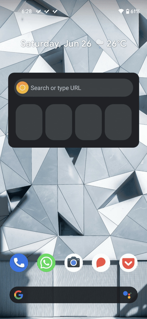 Chrome for Android Shortcuts widget